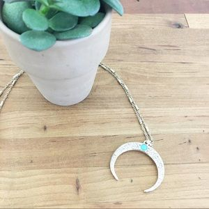 Boho bling crescent delicate gold-plated necklace
